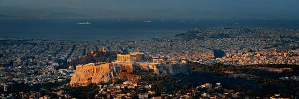 Photograph - Athens Skyline At Sunrise From Mt Lykavitos Panorama by Songquan Deng