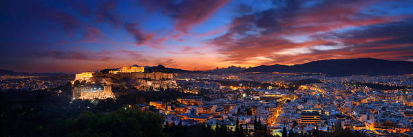 Photograph - Athens Skyline From Mountain by Songquan Deng