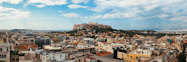 Photograph - Athens Skyline Rooftop Panorama by Songquan Deng