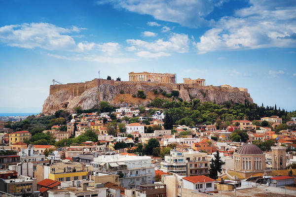 Photograph - Athens Skyline Rooftop  by Songquan Deng