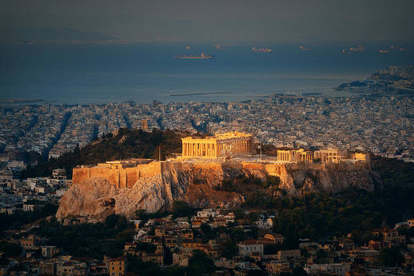 Photograph - Athens Skyline Sunrise From Mt Lykavitos by Songquan Deng