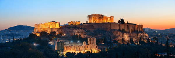 Photograph - Athens Skyline With Acropolis Panorama by Songquan Deng