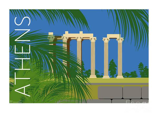 Digital Art - Athens Temple Of Olympian Zeus - Blue by Sam Brennan