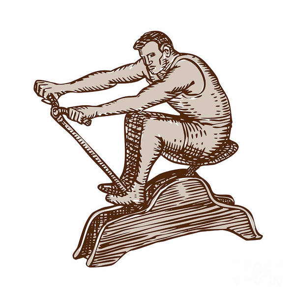 Athlete Exercising Vintage Rowing Machine Etching Art Print