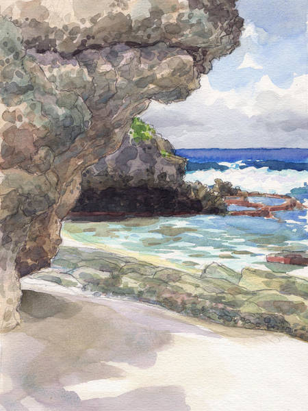 Painting - Atiu, Tumai Beach by Judith Kunzle
