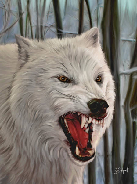 Digital Art - Atka Arctic Grey Wolf by Sue  Brehant