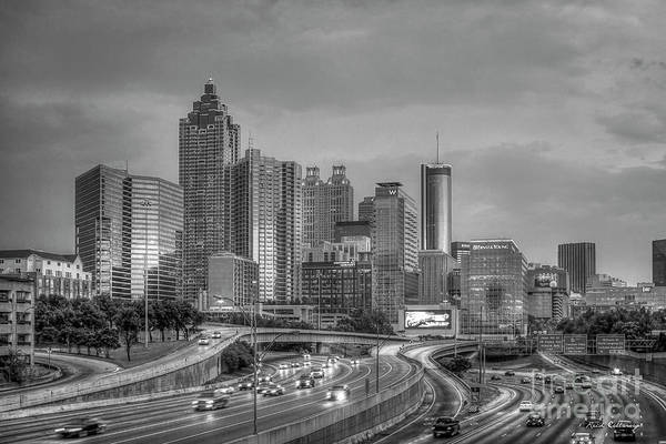 Photograph - Atlanta 4 Bw Downtown Cityscape Sunset Art by Reid Callaway