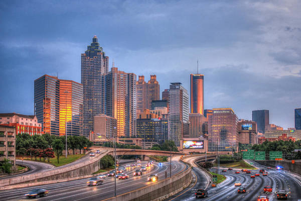 Fulton County Photograph - Atlanta 4 Downtown Cityscape Sunset Art by Reid Callaway