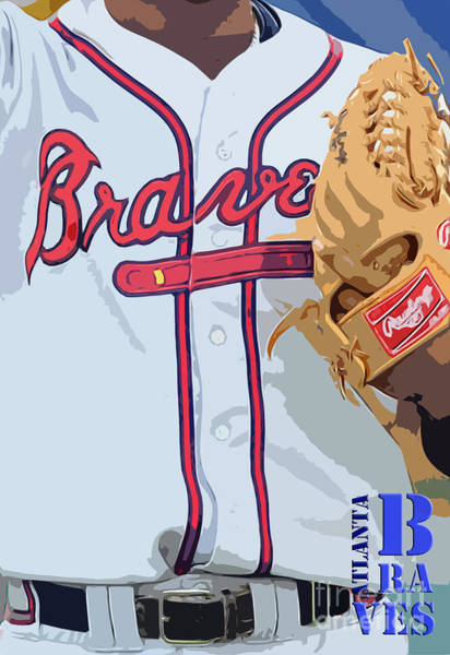 Brave Painting - Atlanta Braves Original Typography Baseball Team by Drawspots Illustrations