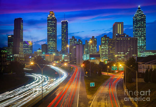 Road America Photograph - Atlanta Downtown By Night by Inge Johnsson
