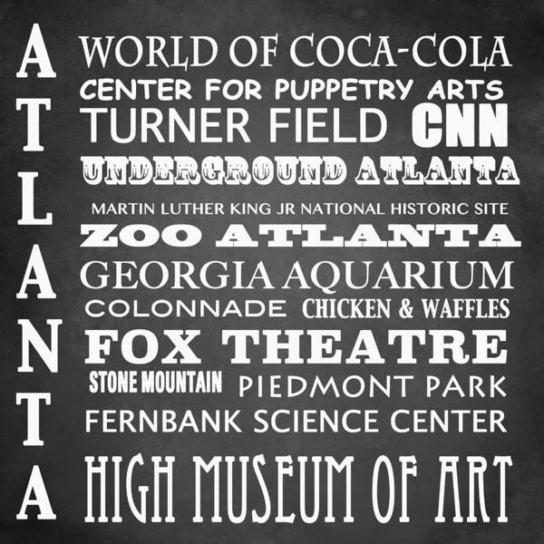 Historic House Digital Art - Atlanta Famous Landmarks by Patricia Lintner