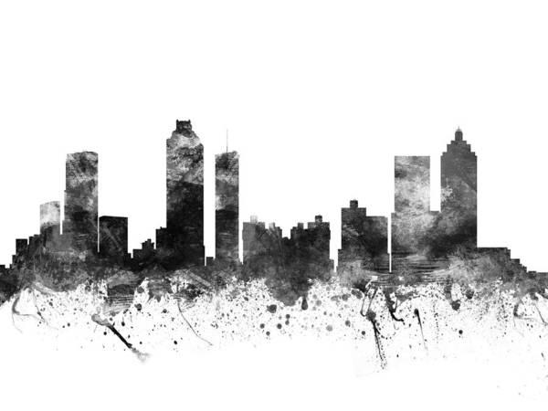 Atlanta Digital Art - Atlanta Georgia Cityscape 02bw by Aged Pixel