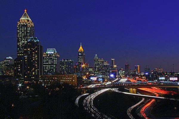 I-75 Photograph - Atlanta, Georgia - Downtown Night Shot 2 by Richard Krebs