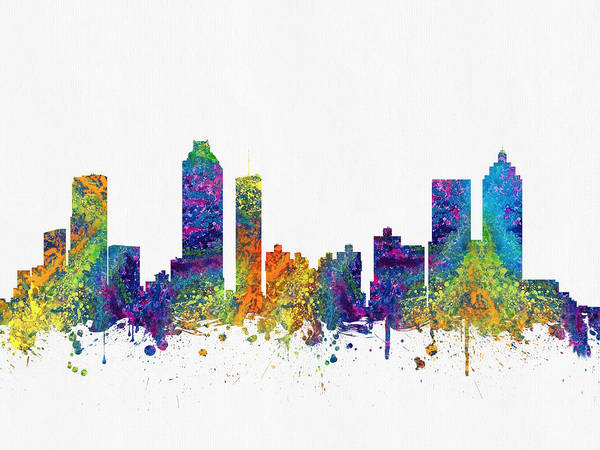 Atlanta Digital Art - Atlanta Georgia Skyline Color03 by Aged Pixel
