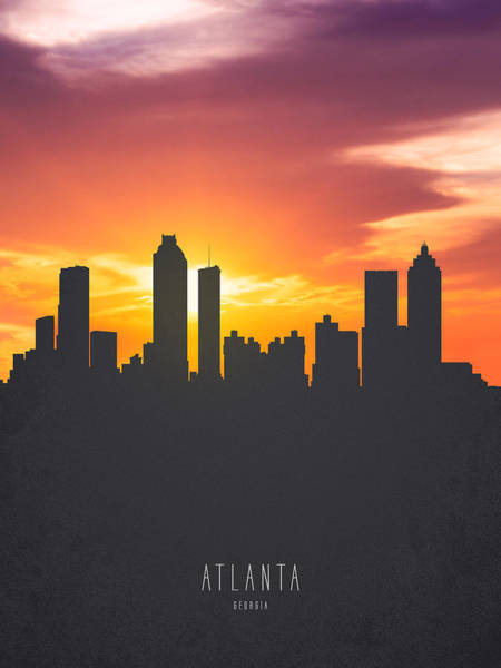 Atlanta Digital Art - Atlanta Georgia Sunset Skyline 01 by Aged Pixel