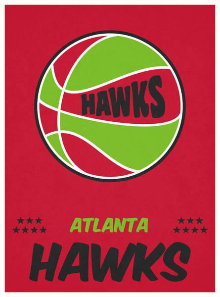 Wall Art - Mixed Media - Atlanta Hawks Vintage Basketball Art by Joe Hamilton