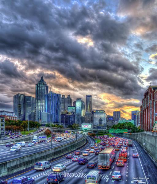 Georgia Power Company Photograph - Atlanta Home Going Traffic 2 Downtown Atlanta Sunset Art by Reid Callaway