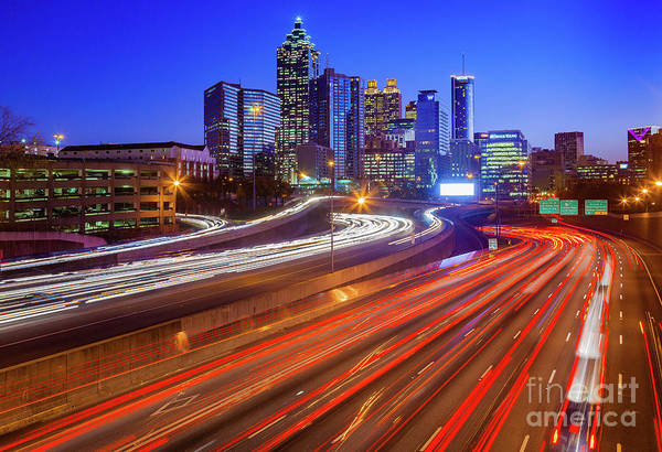 American Car Photograph - Atlanta Interstate I-85 By Night by Inge Johnsson