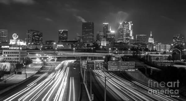 Georgia Power Company Photograph - Atlanta Moving On B W Skyline Cityscape Art by Reid Callaway