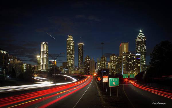 Georgia Power Company Photograph - Atlanta Night Lights 2 Cityscape Art by Reid Callaway