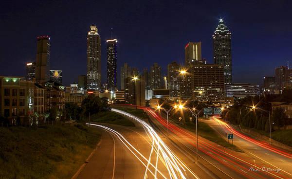 The Southern Company Photograph - Atlanta Night Lights Atlanta Cityscape Art by Reid Callaway