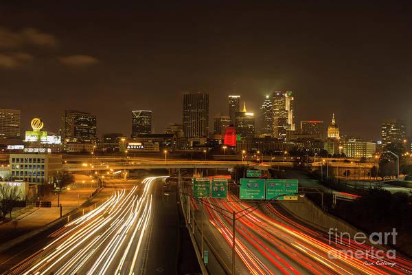 The Southern Company Photograph - Atlanta Night Lights Skyscraper Cityscape Art by Reid Callaway