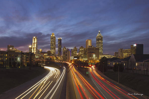 Georgia Power Company Photograph - Atlanta Night Lights Sunset Cityscape Skyline Art by Reid Callaway
