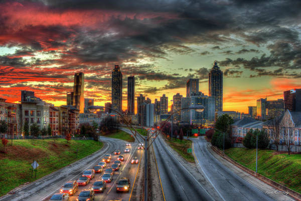 The Southern Company Photograph - Atlanta Nite Lights Atlanta Downtown Cityscape Art by Reid Callaway