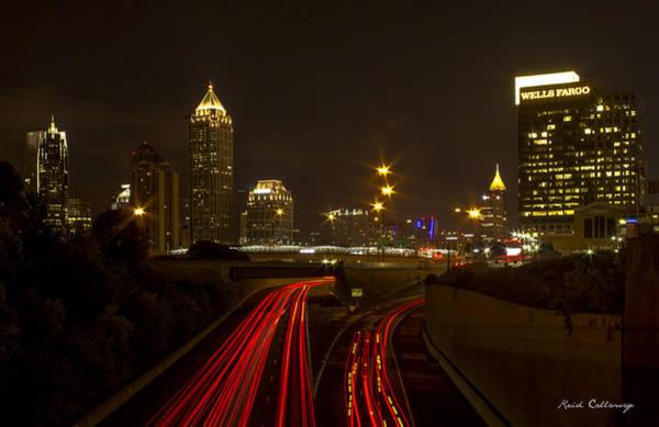 Georgia Power Company Photograph - Atlanta Nite Works 2 Cityscape Night Art by Reid Callaway