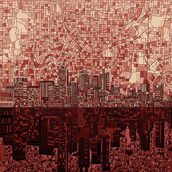 Atlanta Digital Art - Atlanta Skyline Abstract Deep Red by Bekim M