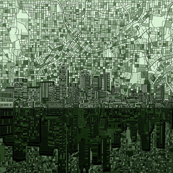 Atlanta Digital Art - Atlanta Skyline Abstract Hunter Green by Bekim M