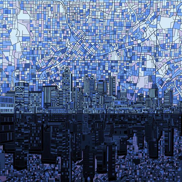 Atlanta Digital Art - Atlanta Skyline Abstract Navy Blue by Bekim M