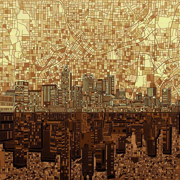 Atlanta Digital Art - Atlanta Skyline Abstract Orange by Bekim M
