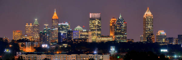 Downtown Wall Art - Photograph - Atlanta Skyline At Night Downtown Midtown Color Panorama by Jon Holiday
