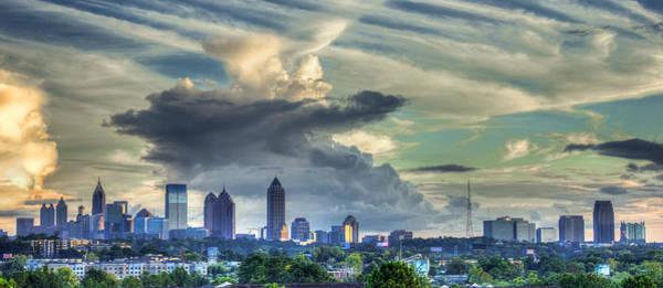 Capital Of Georgia Photograph - Atlanta Skyline Clouds Panorama Art by Reid Callaway