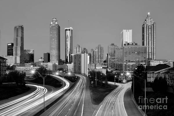 Wall Art - Photograph - Atlanta Skyline In Morning Downtown Light Trails Bw Black And White by Jon Holiday