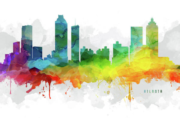 Atlanta Digital Art - Atlanta Skyline Mmr-usgaat05 by Aged Pixel