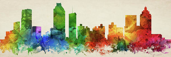 Wall Art - Digital Art - Atlanta Skyline Panorama Usgaat-pa03 by Aged Pixel