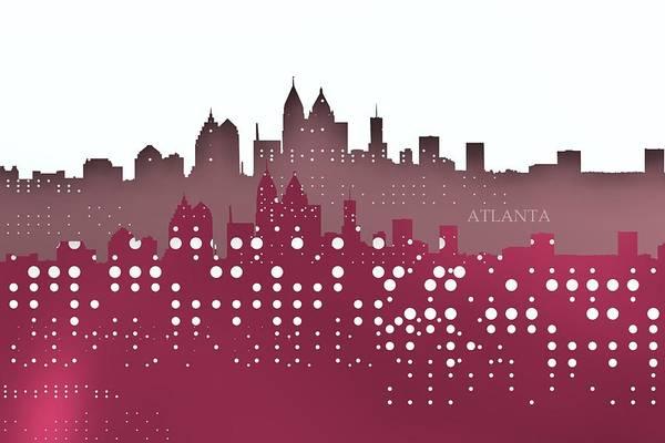 Digital Art - Atlanta Skyline Shadows Over Violet by Alberto RuiZ
