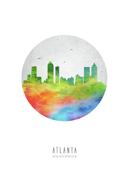 Atlanta Digital Art - Atlanta Skyline Usgaat20 by Aged Pixel