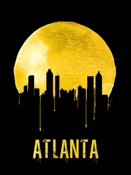 Wall Art - Painting - Atlanta Skyline Yellow by Naxart Studio