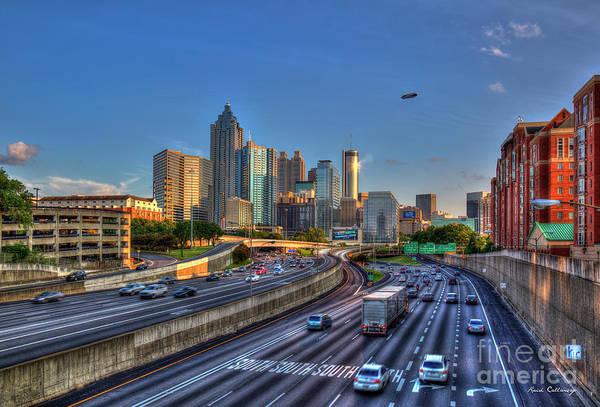 Georgia Power Company Photograph - Atlanta Sunset 2 Goodyear Blimp Overhead  Cityscape Art by Reid Callaway