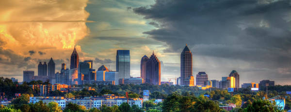 Georgia Power Company Photograph - Atlanta Sunset Panorama Cityscape Art by Reid Callaway