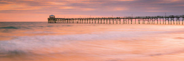 Photograph - Atlantic Beach Fishing Pier In North Carolina Sunset Panorama by Ranjay Mitra