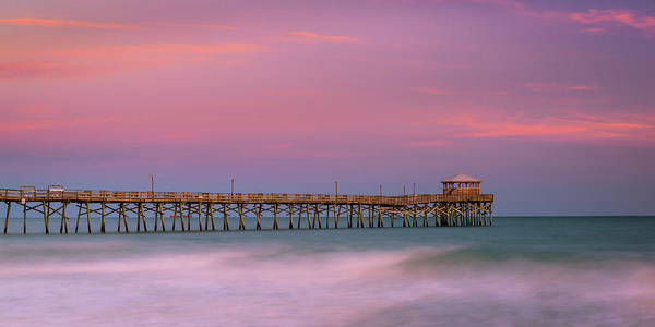 Photograph - Atlantic Beach Fishing Pier Sunset Panorama by Ranjay Mitra