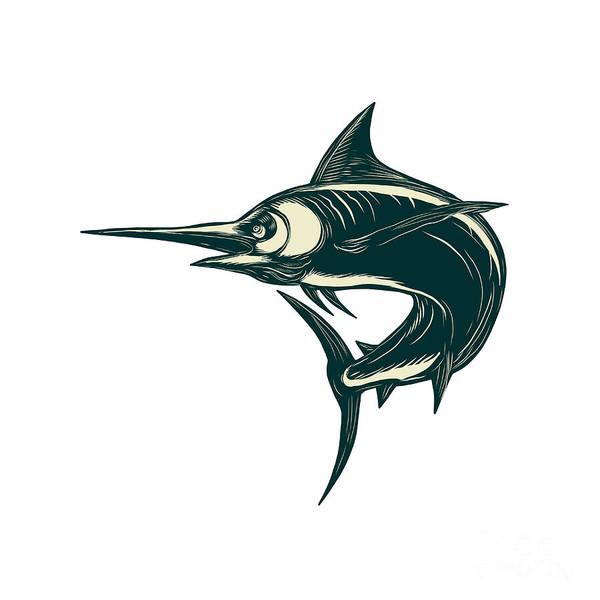 Scratchboard Wall Art - Digital Art - Atlantic Blue Marlin Scraperboard  by Aloysius Patrimonio