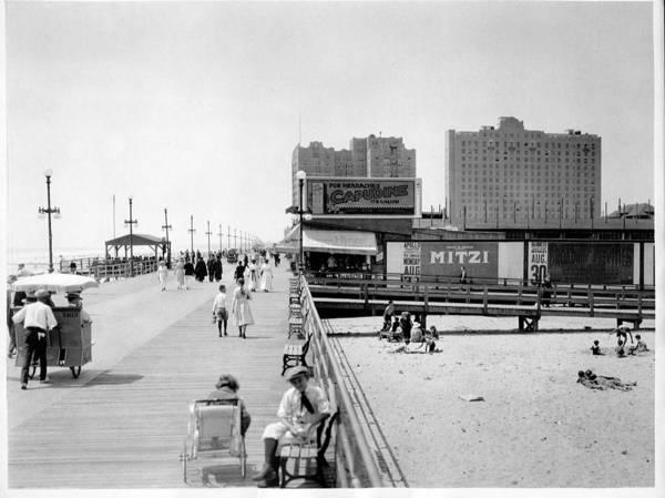 Building Wall Art - Photograph - Atlantic City 1920 Boardwalk Promenade, Beach Sand, Signs Apollo Theatre, Mitzi  by Zal Latzkovich