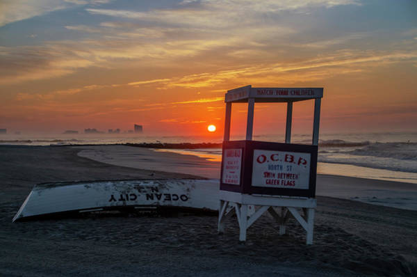 Photograph - Atlantic City Cityscape From Ocean City Beach At Sunrise by Bill Cannon
