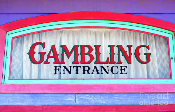 Wall Art - Photograph - Atlantic City Gambling Entrance Sign by John Rizzuto