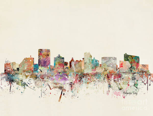 Atlantic Wall Art - Painting - Atlantic City Skyline by Bri Buckley